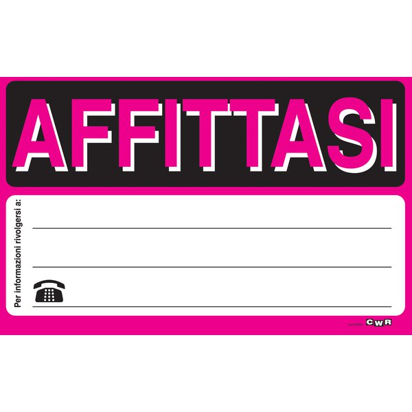 Cartello Segnaletico In Cartoncino Fluorescenti Cwr Affittasi