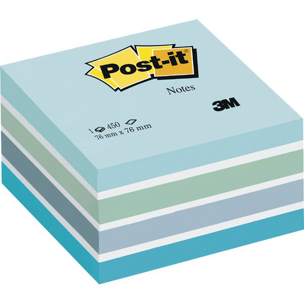 Post-it® Cubi Pastello - 76x76 mm -azzurro pastello,blu smeraldo,blu cielo,blu ultra,bianco - 2028-B