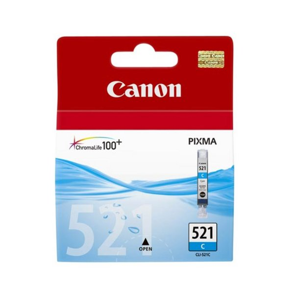 Originale Canon 2934B009 Serbatoio inchiostro blister security Chromalife 100+ CLI-521 C ciano
