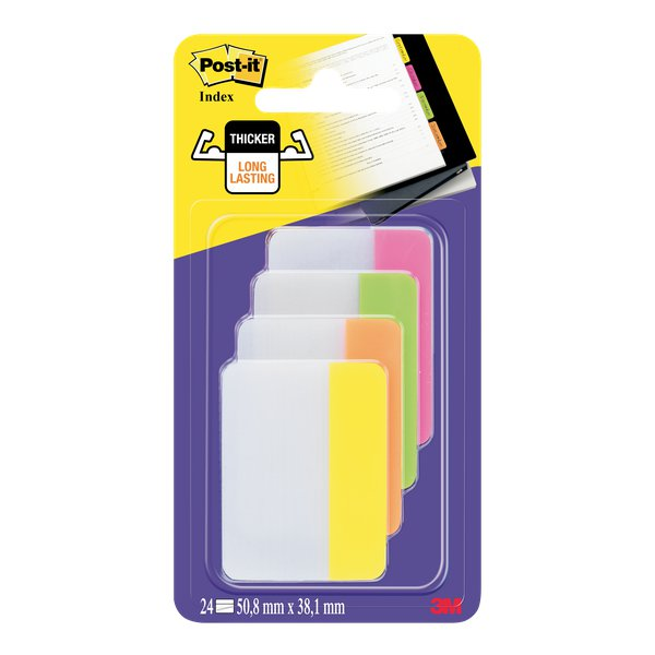 Post-it® Index Strong 686 Colore per archivio - rosa, lime, arancio, giallo - 686-PLOYEU (conf.4)