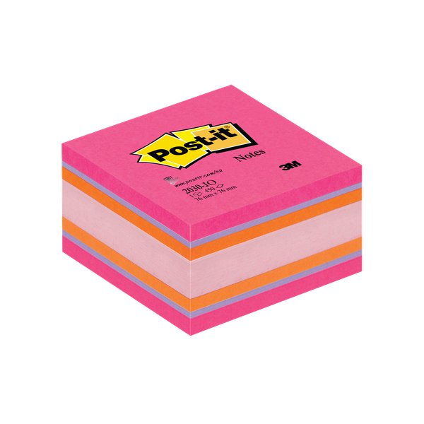 Post-it® Cubi colorati e Canary  - Joy - 76x76 mm - arancio neon, fucsia, rosa pastello e neon - 2030-JO