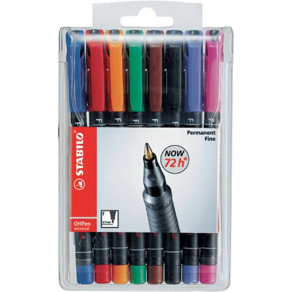 OHPen Universal permanente Stabilo - assortiti - superfine - 0,4 mm - 841/8 (conf.8)