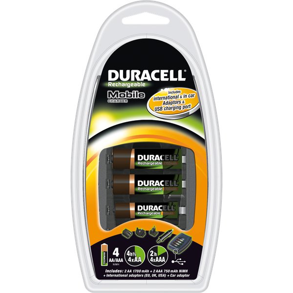 Caricabatterie mobile traveler Duracell - 4AA / 4AAA  / USB - 2/6 ore - CEF 23 P