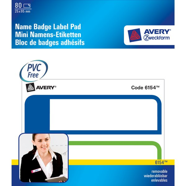 Mini badge adesivi in blocchetto Avery - 2 - 25x95 - 50x95 mm - Bianco/Blu-Verde - 6154 (conf.80)