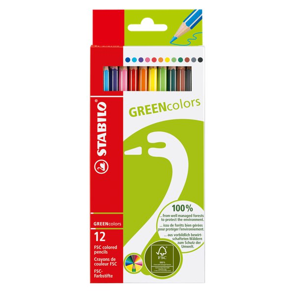 Matite colorate GREENcolors Stabilo - 2,5 mm - da 6 anni - 6019/2-12 (conf.12)